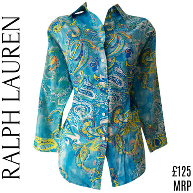 Ralph Lauren Shirt Blouse Paisley Blue Button Up Top Buttons Cotton Size Large