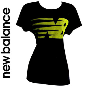 New Balance Tee Top Teeshirt Logo Black Lime Green Workout Exercise Size Large
