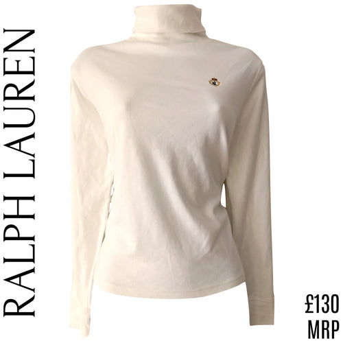 Ralph Lauren Jumper Turtleneck Top Ivory Emblem Logo Crest Cream Size Medium