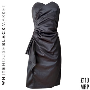 White House Black Market Dress Strapless Satin Sweetheart LBD Draped Size Small