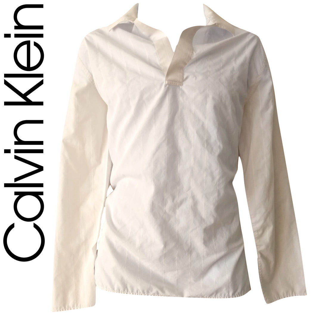 Calvin Klein Shirt Men Mens White Pinstripe V Neck Collared CK Jeans Size Medium