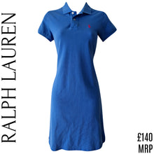 Load image into Gallery viewer, Ralph Lauren Dress Polo Shirtdress Tshirt Blue Collared Casual Logo Size XS