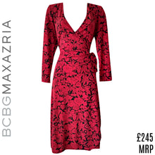 Load image into Gallery viewer, BCBG Dress Wrap Red Floral Black Roses Plunge V Neck Midi Mididress Size Large