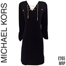 Load image into Gallery viewer, Michael Kors Dress Blue Navy Chain Stretch Gold Lace Up Three Quarter Size Small