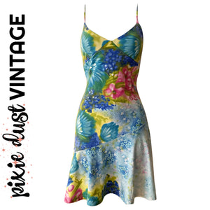 Vintage Dress Y2K Floral Slip Minidress 1990s 90s 2000s 00s Mini Size Small