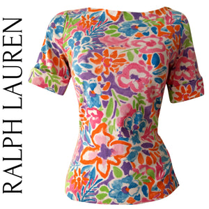 Ralph Lauren Top Floral Colourful Bright Tee Tshirt Shirt Zipper Zip Size Small