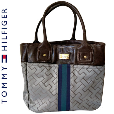 Tommy Hilfiger Bag Small Tote Logo Grey Blue Brown Minibag Faux Leather Stripe