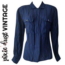 Load image into Gallery viewer, Vintage Blouse Striped Blue 80s 1980s Black Button Up Long Sleeves Size Medium