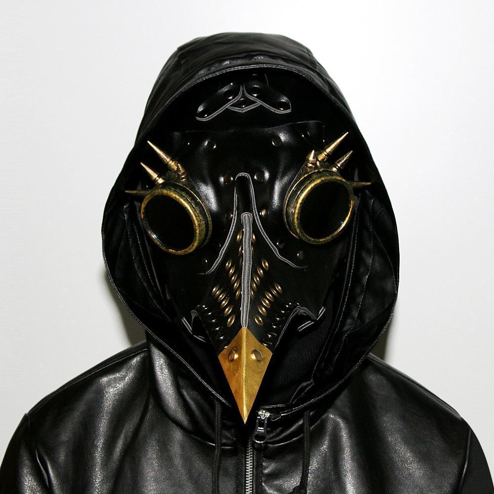 Plague Doctor Mask Birds Long Nose Beak Faux Leather Steampunk Halloween