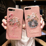 Handmade 3D Embroidery Flamingo Leather Phone Case