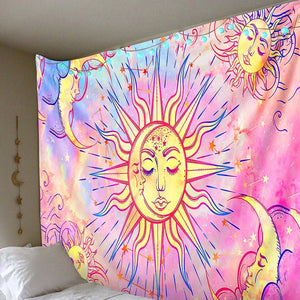 Celestial Pastel Pink Tapestry