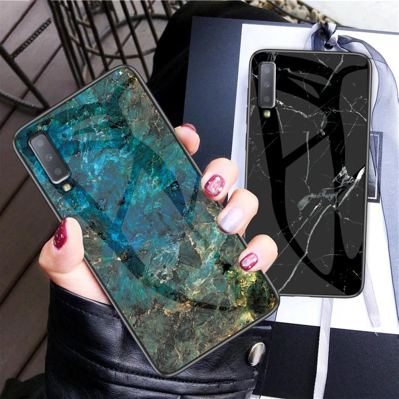 Marble Glass Case For Samsung Galaxy