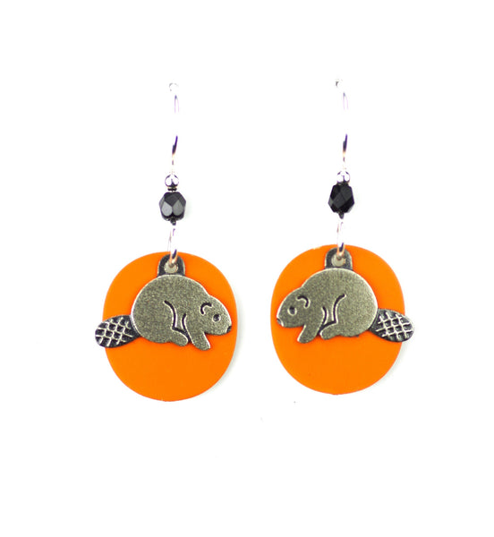 Beaver Earrings, Silver on Orange.