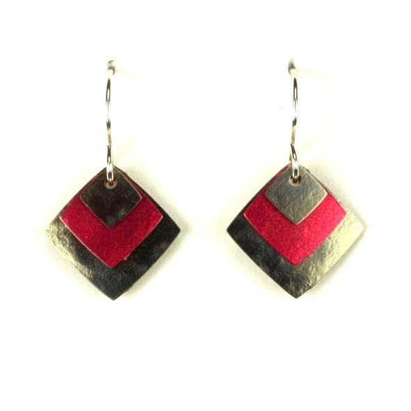 LAYERED THREE SQUARES EARRINGS