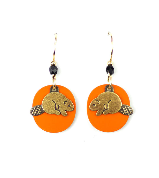 Beaver Earrings, Gold on Orange.