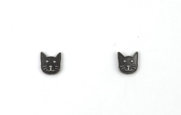 CAT FACE POST SILVER
