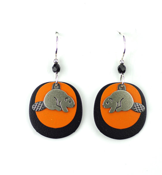 Beaver Earrings, Silver, Orange and Black