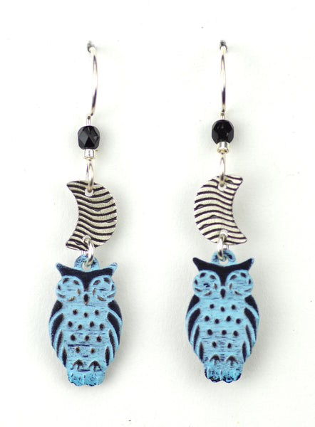 Moon & Blue Owl Earrings