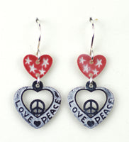 Red heart w/large love-peace heart