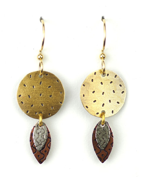 Large gold circle with silver & copper dangles