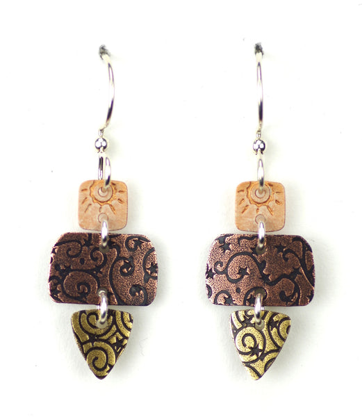 Three part copper patterned w/gold triangle