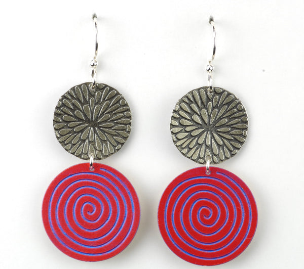 Silver sunburst & large red circle w/iridescent purple swirl