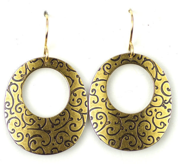 Large gold vine patterned hoop