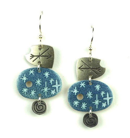 Three Part Blue & Silver earring