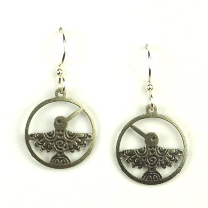 Silver Hummingbird in Circle