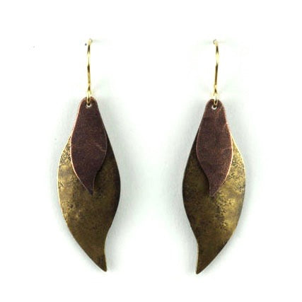 Two-part curved leaves - Brass and Copper