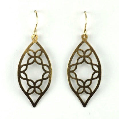 Leaf shape w/petal cutouts - Brass