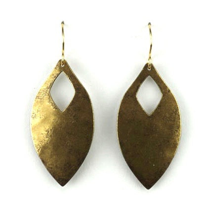 Leaf shape w/diamond cutout - Brass