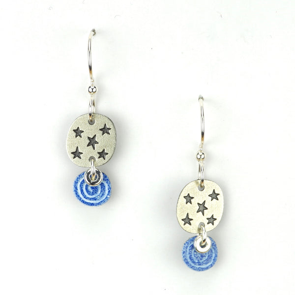 2-part silver starred circle w/ blue swirl.