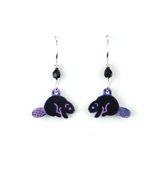Beaver Earrings, Black and Purple.