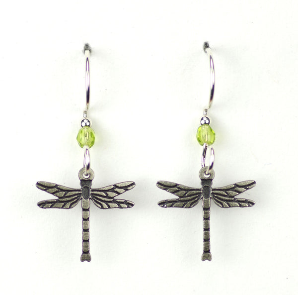DRAGON FLY SMALL SILVER LIGHT GREEN