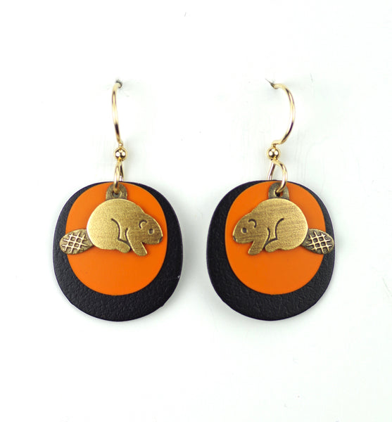 Beaver Earrings, Brass, Orange and Black