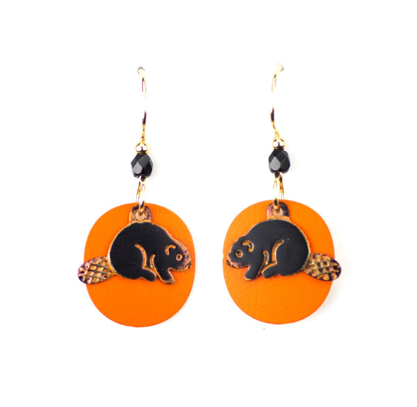 Beaver Earrings, Black on Orange.