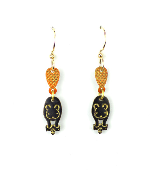 Beaver Earrings, Black two part.