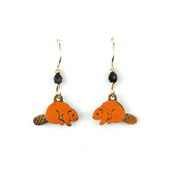 Beaver Earrings, Orange