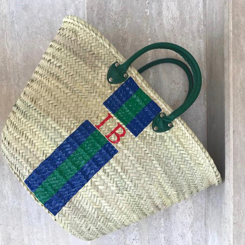 Leather handles straw bag