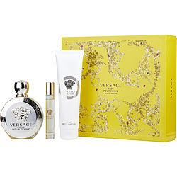 VERSACE EROS POUR FEMME by Gianni Versace - EAU DE PARFUM SPRAY 3.4 OZ & BODY LOTION 5 OZ & EAU DE PARFUM ROLLERBALL .34 OZ MINI