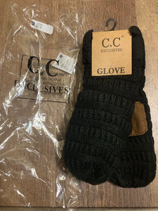 C.C gloves mittens sweater style black