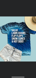 Vacay flip flops lawn chairs bleached tee