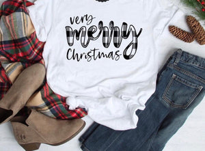 Very merry Christmas short sleeve white tee