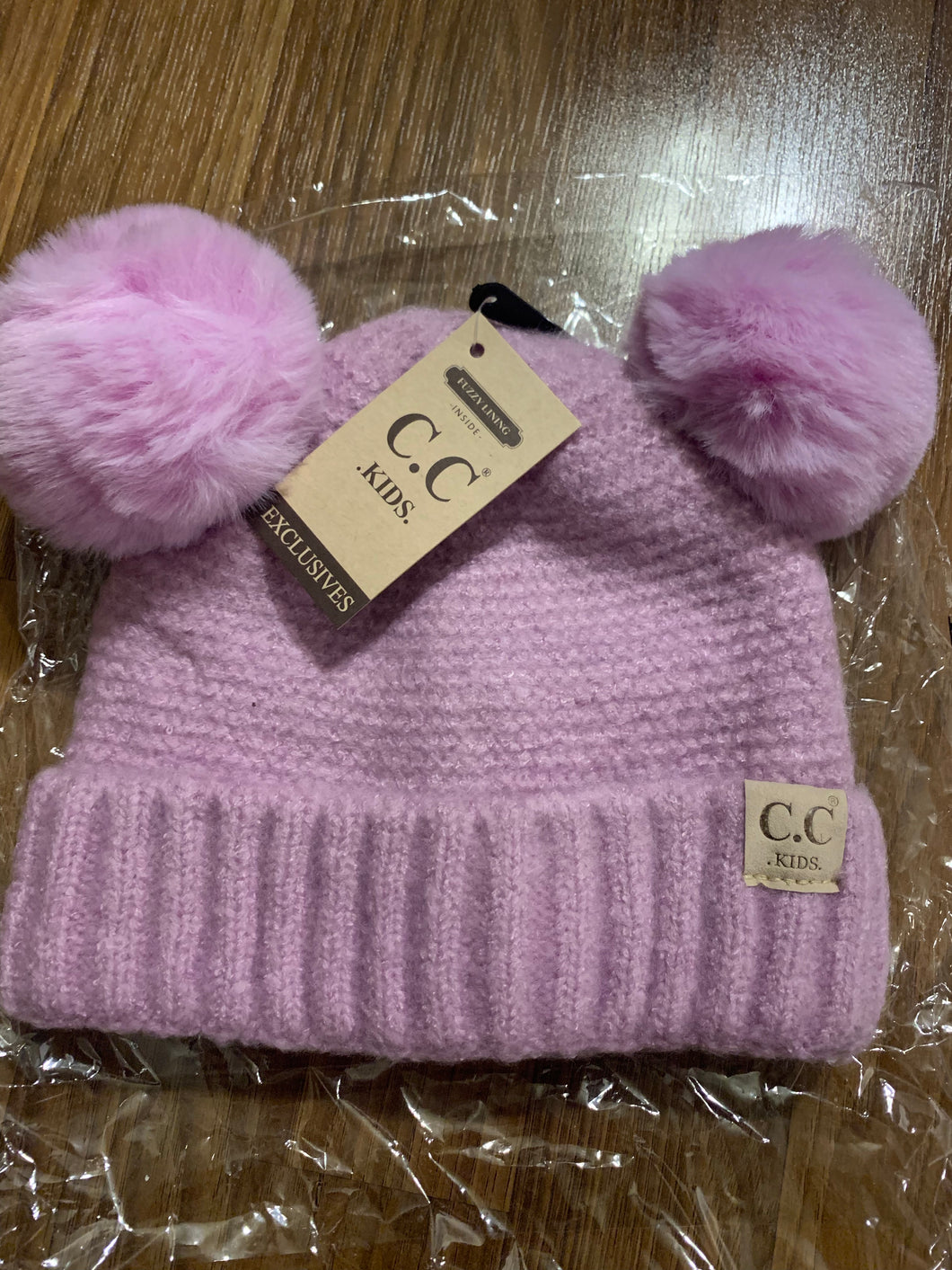 C.C kids lilac double pom hat