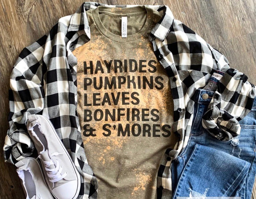 Hayrides leaves bonfires pumpkins and s'mores fall tee