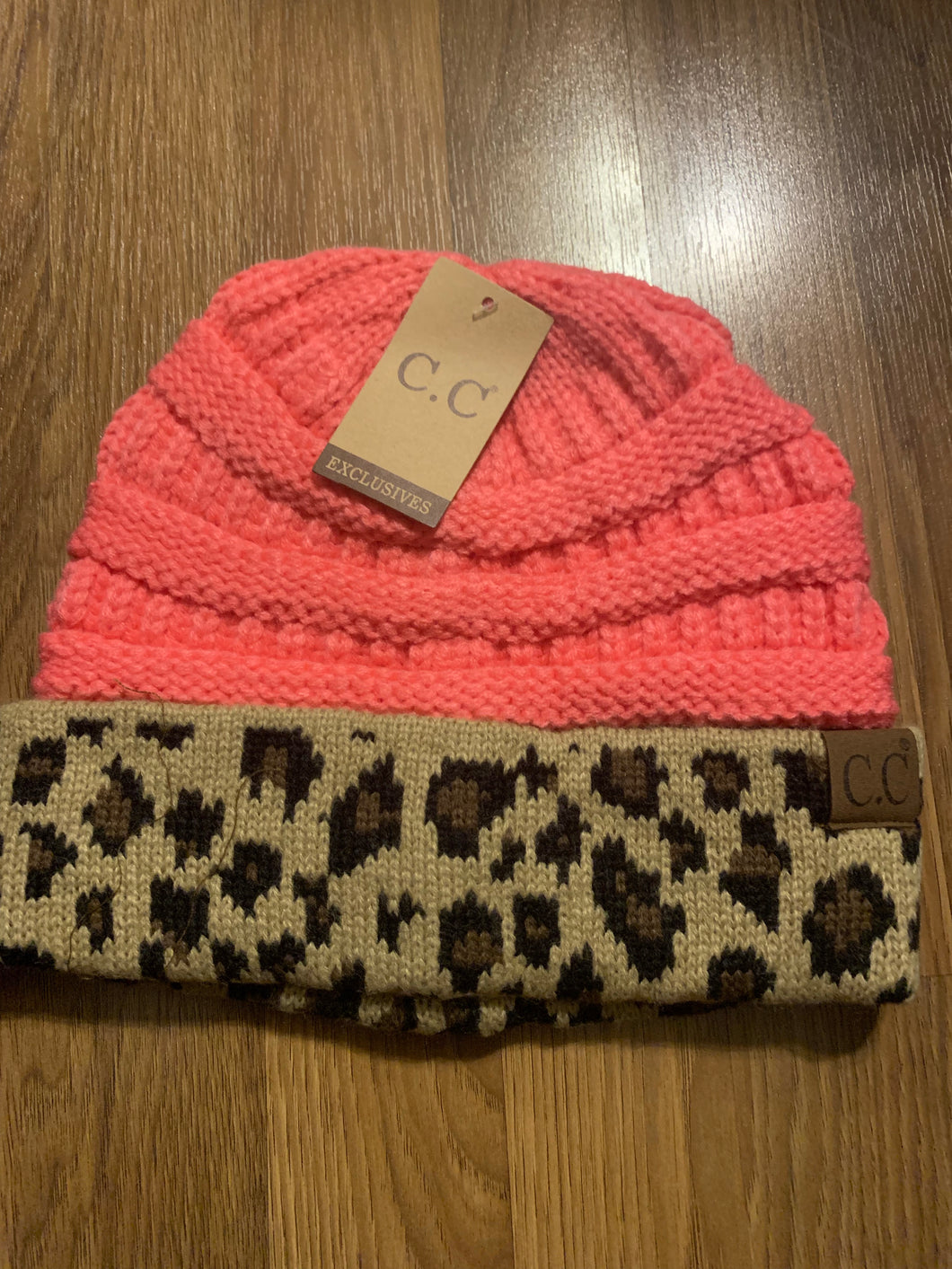 Animal print pink C.C hat beanie