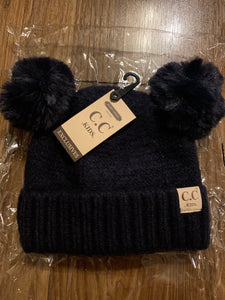 C.C dark navy kids double pom