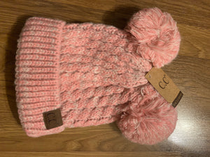 C.C double pom rose pink beanie hat