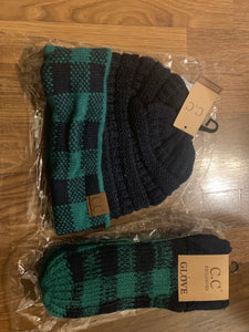 C.C green buffalo plaid set